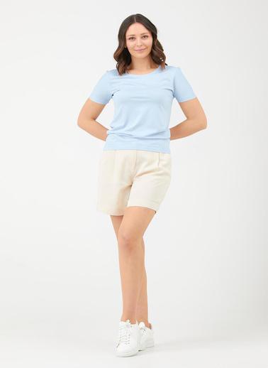 Sementa Sıfır Yaka Kadın Basic Tshirt - Mavi Mavi